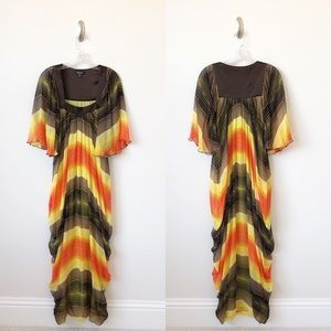 Bebe Silk Striped 70s Inspired Maxi Dress
